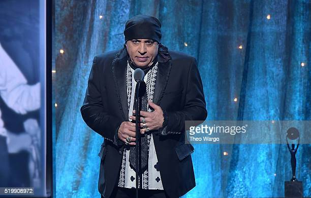 Actor and musician Steve Van Zandt speaks on stage at the 31st Annual Rock And Roll Hall Of Fame Induction Ceremony at Barclays Center of Brooklyn on...