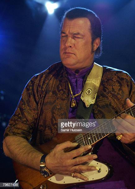 Actor and musician Steven Seagal performs live with his band Thunderbox on March 18 2007 at the Shepherds Bush Empire in London England