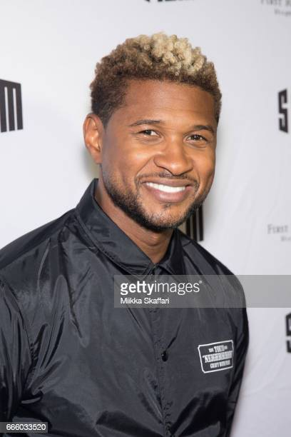 """Actor and musician Usher arrives at the premiere of 'People you may know"""" at SFMOMA on April 7, 2017 in San Francisco, California."""