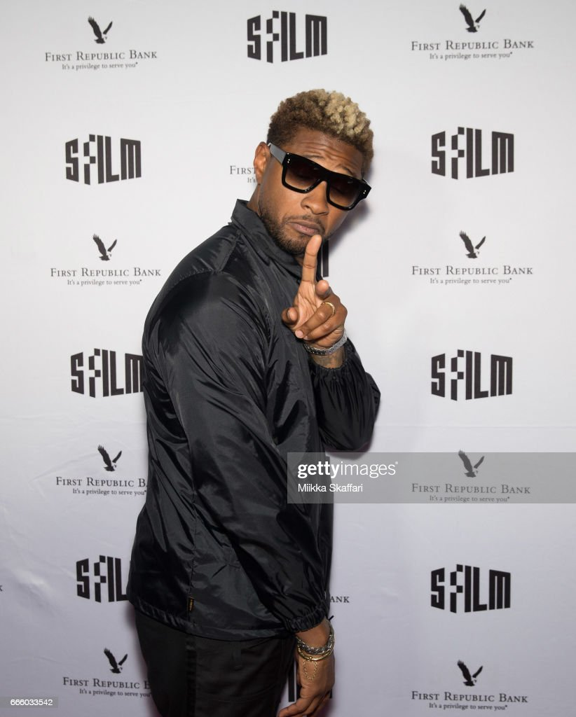 Actor and musician Usher arrives at the premiere of 'People you may know' at SFMOMA on April 7, 2017 in San Francisco, California.