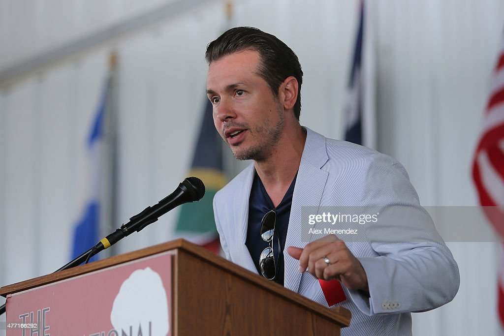 Actor and parade grand marshall Jon Seda speaks during the induction ceremony at the International Boxing Hall of Fame induction Weekend of Champions events on June 14, 2015 in Canastota, New York.
