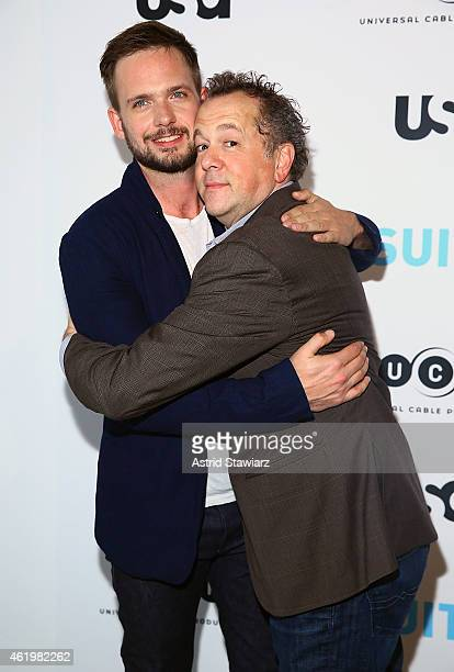 Actor and photographer Patrick J Adams and actor David Costabile attend the Patrick J Adams Exhibition Opening of 'SUITS' Gallery at 402 West 13th...