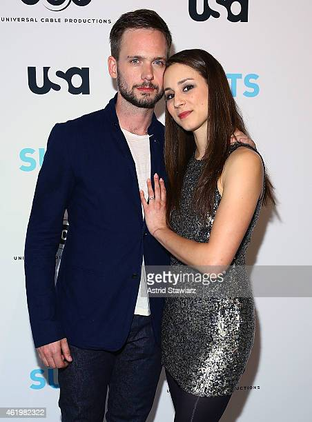 Actor and photographer Patrick J Adams and actress Troian Bellisario attend the Patrick J Adams Exhibition Opening of 'SUITS' Gallery at 402 West...