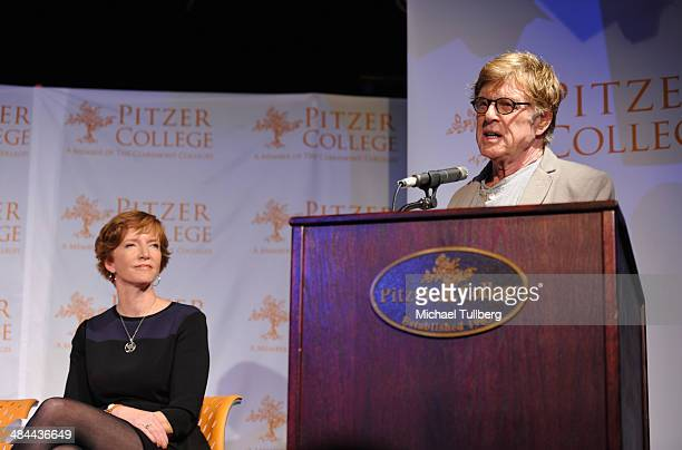 Actor and Pitzer College Trustee Robert Redford speaks as Pitzer College President Laura Skandera Trombley looks on at a press conference...