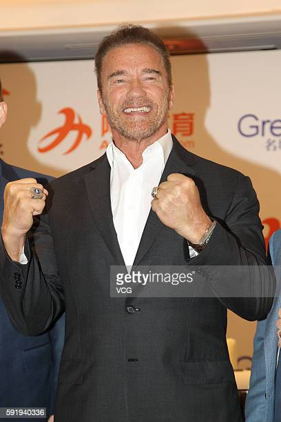 Actor and politician Arnold Schwarzenegger attends a press conference for first ever Arnold Classic Asia Sports Festival on August 19 2016 in Hong...