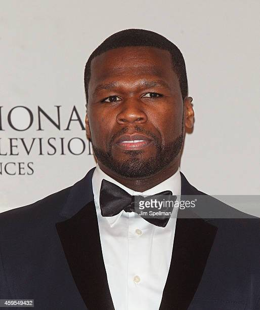 Actor and presenter Curtis '50 Cent' Jackson poses in the press room at the 2014 International Academy Of Television Arts Sciences Awards at New York...
