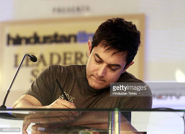 Actor and Producer Aamir Khan during the Hindustan Times Leadership Summit on November 21 2014 in New Delhi India The Hindustan Times Leadership...