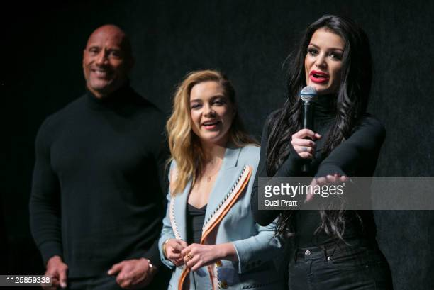 Actor and producer Dwayne Johnson and actresses Florence Pugh and Paige speak at the special premiere of Fighting With My Family on January 28 2019...