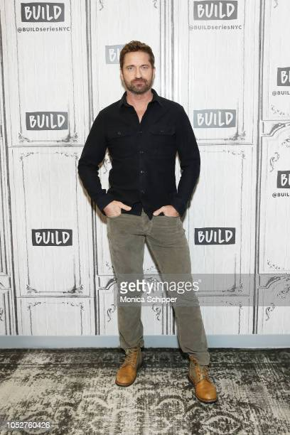"""Actor and producer Gerard Butler visits Build Studio to discuss his new film """"Hunter Killer"""" on October 22, 2018 in New York City."""