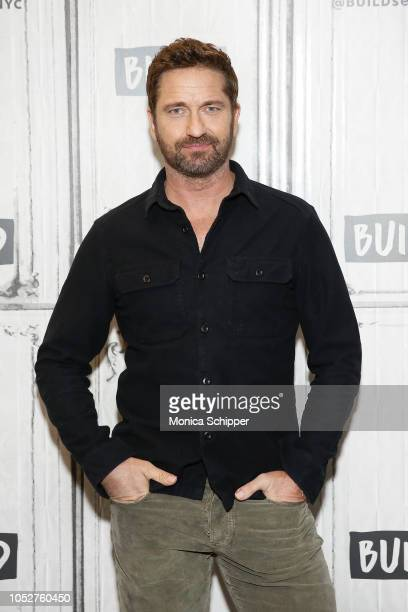 Actor and producer Gerard Butler visits Build Studio to discuss his new film Hunter Killer on October 22 2018 in New York City