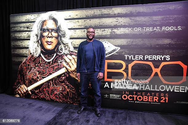 Actor and Producer Tyler Perry attends the screening of Boo A Madea Halloween at Regal Atlantic Station on October 2 2016 in Atlanta Georgia