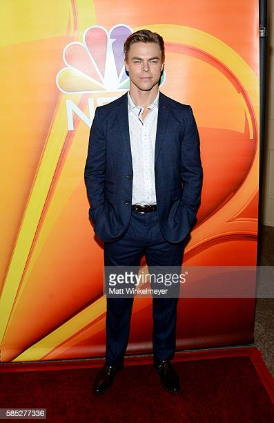Actor and professional dancer Derek Hough attends the NBCUniversal press day during the 2016 Summer TCA Tour at The Beverly Hilton Hotel on August 2...
