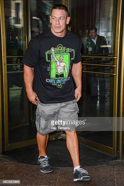 Actor and professional wrestler John Cena leaves Del Frisco's Steakhouse on March 24 2014 in New York City