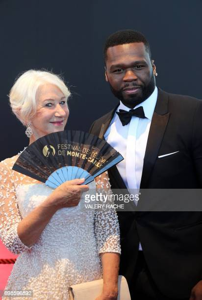 US actor and rapper 50 Cent aka Curtis Jackson poses with British actress Helen Mirren during the closing ceremony of the 57th MonteCarlo Television...