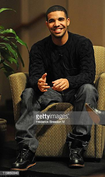 Actor and Rapper Drake Graham known simply as Drake attends A Conversation with Drake sponsored by the Nashville Chapter at Ocean Way Studio on...
