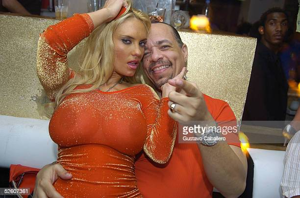 Actor and rapper IceT and his wife Coco at promoter Michael Capponi's party at Prive nightclub on April 9 2005 in Miami Beach Florida