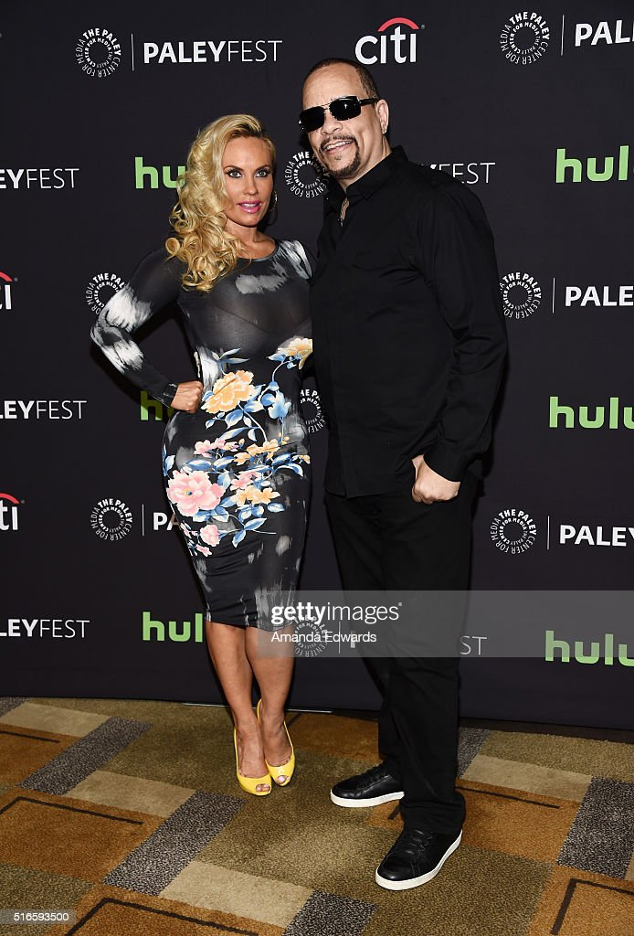 Actor and rapper Ice-T (R) and television personality Coco Austin arrive at The Paley Center For Media's 33rd Annual PaleyFest Los Angeles - Stars of 'Law and Order: SVU', 'Chicago Fire', 'Chicago P.D.', and 'Med' Salute Dick Wolf event at the Dolby Theatre on March 19, 2016 in Hollywood, California.