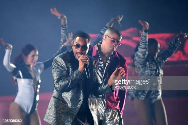 US actor and rapper Will Smith and Puerto Rican singer Bad Bunny perform during the 19th Annual Latin Grammy Awards in Las Vegas Nevada on November...