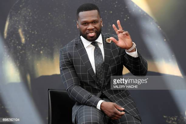 US actor and rappeur 50 Cent aka Curtis Jackson poses during a photocall for the TV show Power as part of the 57th MonteCarlo Television Festival on...