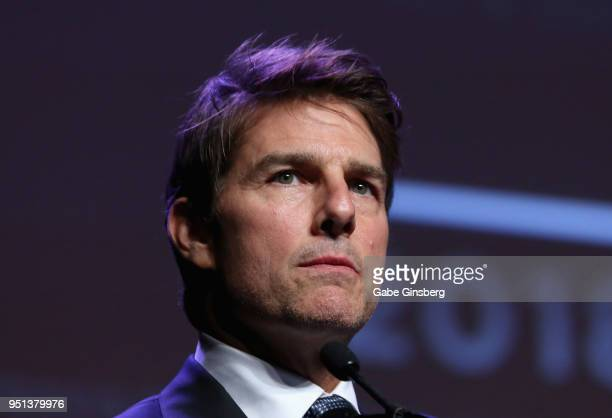 Actor and recipient of the '2018 Pioneer of the Year' award Tom Cruise speaks during the 2018 Will Rogers Pioneer of the Year Dinner Honoring Tom...