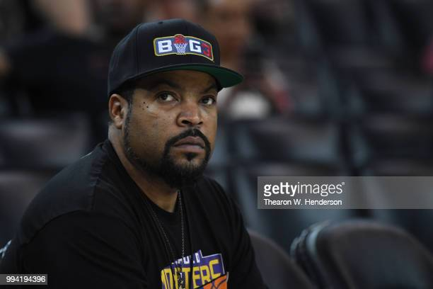Actor and recording artist Ice Cube looks on during week three of the BIG3 three on three basketball league game at ORACLE Arena on July 6 2018 in...