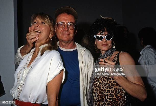 Actor and screenwriter Buck Henry actress Terry Garr and bodybuilder Lisa Lyon at the Issey Miyaki Fashion Show at Otis Parsons Art School in 1983 in...