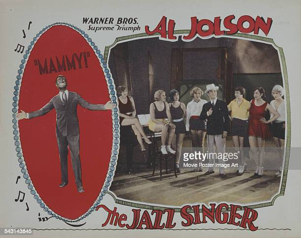 Actor and singer Al Jolson appears on the poster for the Warner Bros film 'The Jazz Singer' 1927
