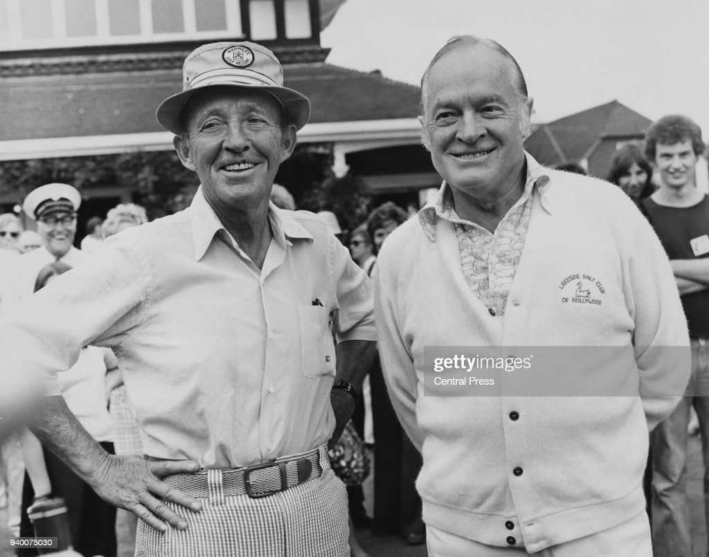 US actor and singer Bing Crosby (left) with screen partner Bob Hope at the Pro-Am Golf Tournament at Sunningdale, UK, 6th August 1975. They are playing in the Pro-Am Preliminary to the Colgate European Women's Open Championship.