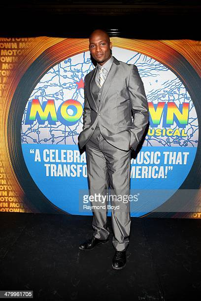 Actor and singer Clifton Oliver poses for photos during a presentation of the national touring company of Motown The Musical at the Oriental Theater...