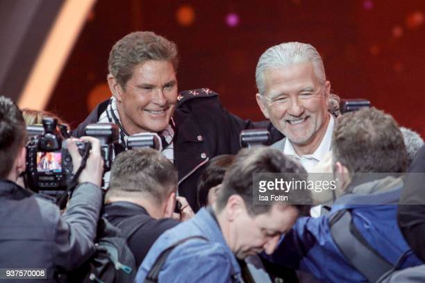 US actor and singer David Hasselhoff and US actor Patrick Duffy during the tv show 'Willkommen bei Carmen Nebel' on March 24 2018 in Hof Germany The...