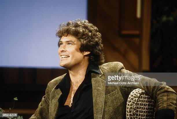 Actor and singer David Hasselhoff chats with the host on a television interview show circa 1980 in Los Angeles California
