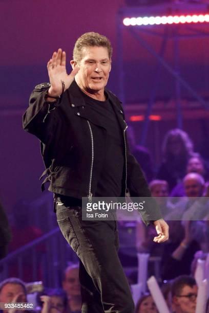 US actor and singer David Hasselhoff during the tv show 'Heimlich Die grosse SchlagerUeberraschung' on March 17 2018 in Munich Germany