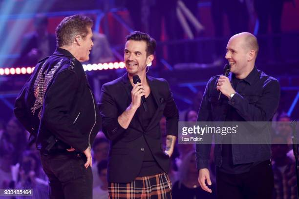 US actor and singer David Hasselhoff German presenter and singer Florian Silbereisen and German singer and actor Oli P during the tv show 'Heimlich...