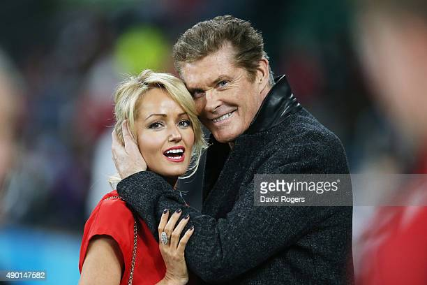 Actor and Singer David Hasselhoff hugs welsh girlfriend Hayley Roberts during the 2015 Rugby World Cup Pool A match between England and Wales at...