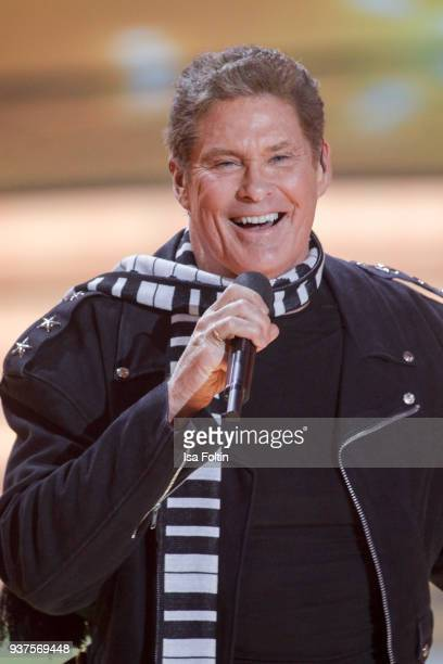 Actor and singer David Hasselhoff performs during the tv show 'Willkommen bei Carmen Nebel' on March 24, 2018 in Hof, Germany. The show will be aired...