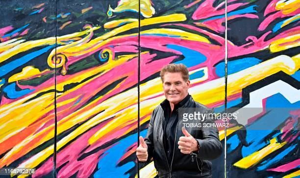 US actor and singer David Hasselhoff poses during an event to promote his new audiobook titled Up against the Wall on September 17 2019 at the East...