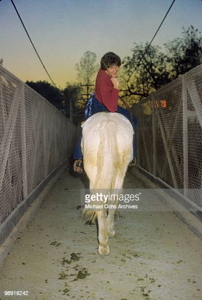 Actor and singer David Hasselhoff poses for a portrait on horseback circa 1978 in Los Angeles California