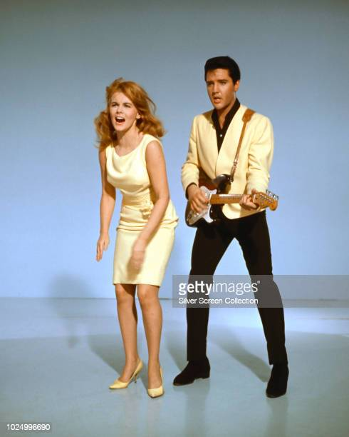 Actor and singer Elvis Presley as Lucky Jackson and actress AnnMargret as Rusty Martin in a publicity still for the musical film 'Viva Las Vegas 1964