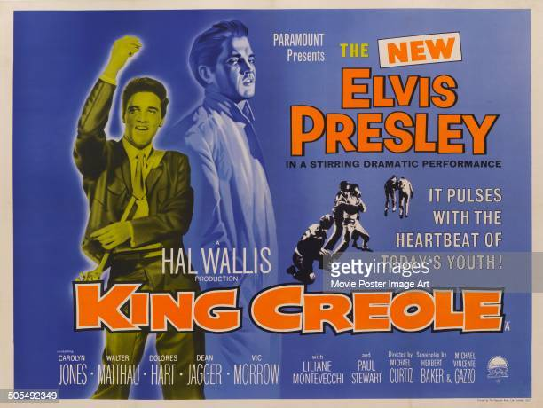 Actor and singer Elvis Presley features on a poster for the Paramount Pictures movie 'King Creole' 1958