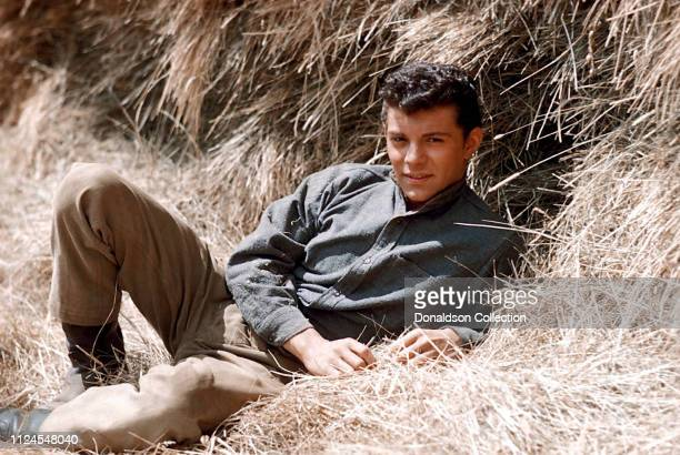 Actor and singer Frankie Avalon poses for a portrait on the Warner Bros lot during the filming of 'Guns of the Timberland' in 1959 in Burbank...