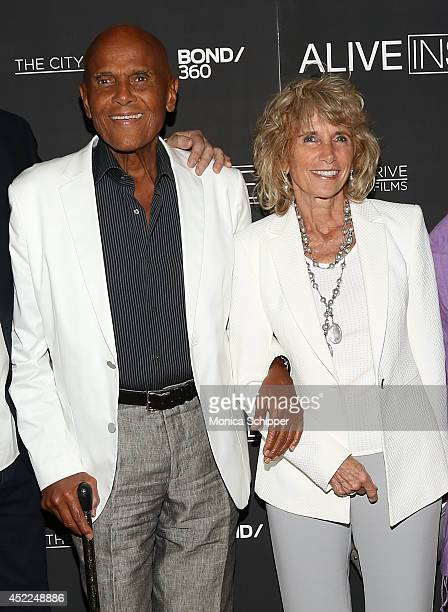 Actor and singer Harry Belafonte and wife photographer Pamela Frank attend the Alive Inside premiere at Crosby Street Hotel on July 16 2014 in New...
