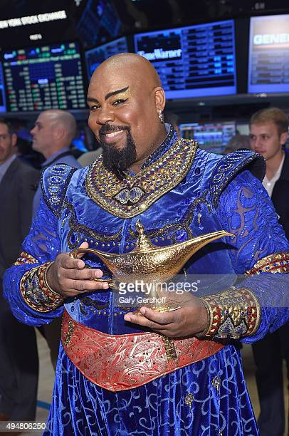 Actor and singer James Monroe Iglehart poses for pictures prior to ringing the opening bell at the New York Stock Exchange on October 29, 2015 in New...