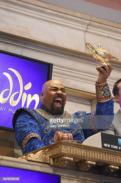 Actor and singer James Monroe Iglehart rings the opening bell at the New York Stock Exchange on October 29 2015 in New York City