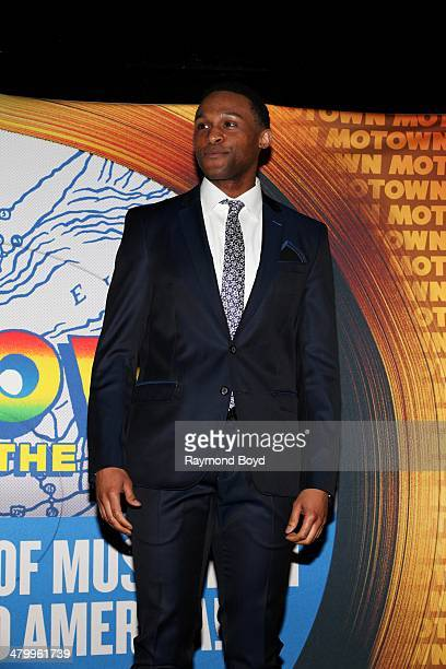 Actor and singer Jarran Muse poses for photos during a presentation of the national touring company of Motown The Musical at the Oriental Theater...