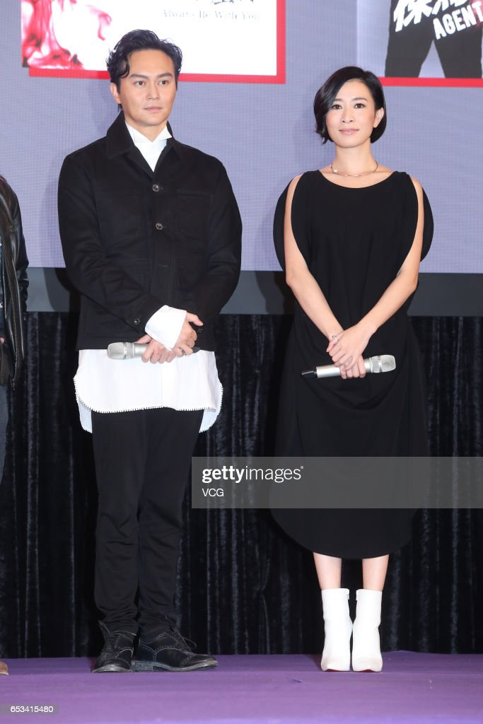Actor and singer Julian Cheung Chilam, actress Charmaine Sheh attend the press conference of China 3D Digital Entertainment Ltd during the 21st Hong Kong International Film & TV Market (FILMART) at Hong Kong Convention and Exhibition Centre on March 14, 2017 in Hong Kong, China.