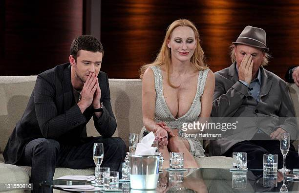 Actor and singer Justin Timberlake actress Andrea Sawatzki and comedian and actor Otto Waalkes attend the 198th 'Wetten dass ' show at Messe Leipzig...