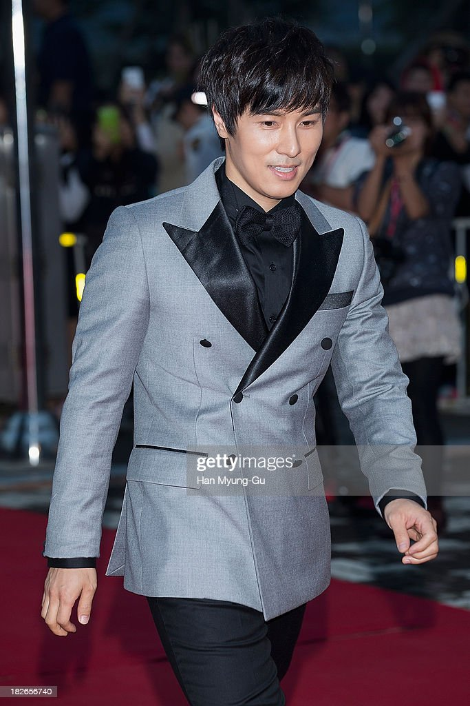 Actor and singer Kim Dong-Wan of South Korean boy band Shinhwa arrives for photographs at 2013 Korea Drama Awards at Jinju Arena on October 02, 2013 in Jinju, South Korea.
