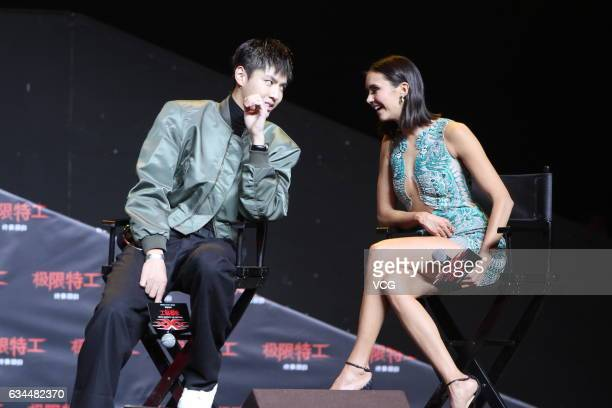 Actor and singer Kris Wu and Canadian actress Nina Dobrev attend the press conference of film 'xXx Return of Xander Cage' on February 9 2017 in...