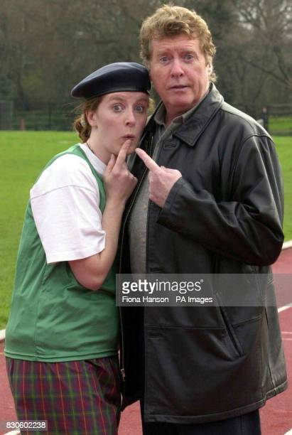 Actor and singer Michael Crawford in Battersea Park London with his daughter Lucy Crawford who is running the London Marathon dressed as Frank...