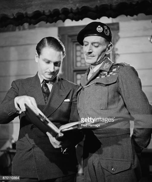 Actor and soldier M E Clifton James a frequent impersonator of Field Marshal Bernard Montgomery goes over the script of the comedy film 'Holiday...